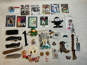 Lot 4 Junk drawerJewelry Knives Collectibles Pin Coins Toys Sports Cards More