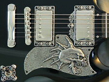 CUSTOM METAL SKULL PICKGUARD fits EPIPHONE G-400 SG GUITAR HAND MADE special !