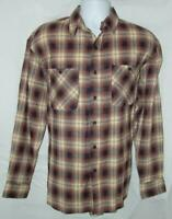 Mens Medium 38 / 40 Brown Plaid Button Down Cotton Flannel Shirt WILDERNESS