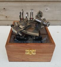 Brass Pocket Sextant Nautical Marine Vintage Wooden Box Bronze  Kelvin & Hughes