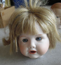 "Vintage Porcelain JDK Kestner Heidi Reproduction Girl  Doll Head 4"" Tall"