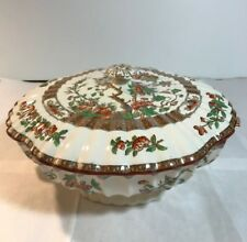 Covered Serving Bowl Tureen Copeland Spode India Indian Tree England Multi Color