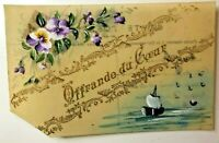 "WW1 Hand Painted Celluloid Card ""Offering of the heart Sweetheart card"