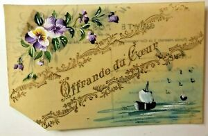 """WW1 Hand Painted Celluloid Card """"Offering of the heart Sweetheart card"""