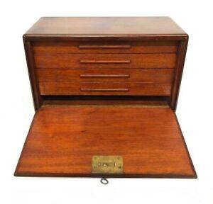 Antique Miniature Mahogany Chest Apprentice Piece Collector Watchmaker Cabinet