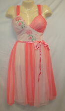 Vtg Adonna Embroidered Pink 2 tone Nightgown Lingerie Dress 50s Rockabilly Sheer