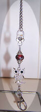 Silver Owl with Red Beaded Lanyard Necklace / ID Badge Cruise Card Holder