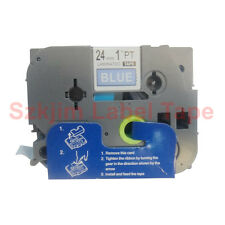 TZ-555 White on Blue Label Tape 24mm 8m Compatible to Brother P-touch TZe-555
