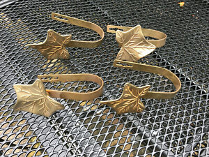 Vintage Brass Leaf Design Curtain Tie / Hold back Hooks set of 4