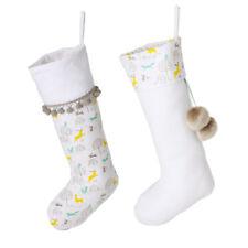 2 Christmas Stockings Gift Set White Festive Traditional Woodland Animal Prints