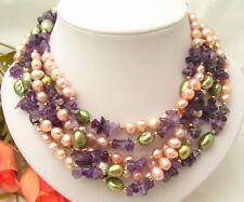 "64"" Purple Green Pearl Amethyst Long Necklace"