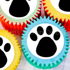Black Paw Print Cupcake Toppers - 4cm x 24 - Edible Wafer - Need Cutting