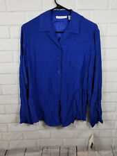 NWT Josephine Chaus Women's Button Down Blue Blouse, 100% Silk, Size 6 MSRP $68