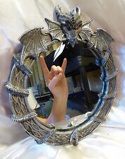 """DRAGON MIRROR Round Gothic Serpent Cast Resin Wall Hanging Mirror 9"""" dia"""