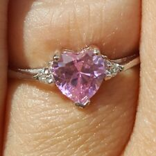 .925 Sterling Silver Ring CZ Heart Midi Kids Ladies size 3-12 Pink Knuckle New