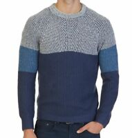 Nautica Men's Multi-Textured Colorblocked Crewneck Pullover Sweater, Blue/Brown