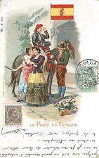 CARTE ANCIENNE -La Poste en Espagne,carte 1900 illustrée(79)