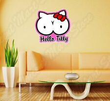 Hello Titty Kitty Adult Tits Boops Funny Wall Sticker Room Interior Decor 25X20""