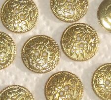 """EDELWEISS FLOWER + Picture Set 11 vtg new Gold tone METAL buttons 21mm 13/16"""""""