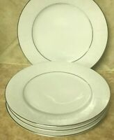 Crown Victoria Lovelace Set Of 4 Bread & Butter Plates Silver Trim Round 6 1/2""