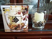 San Miguel Sentiments Love Glass Hurricane with Candle, Beads, and Original Box