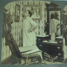 1903 Stereoview Uncle Hayseed Gave A Blow Out Squashville Man In Pj Gown Candle