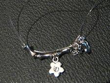Collar de Cadena de plástico transparente con Broche De Metal Tono Plata Y Flor Colgante