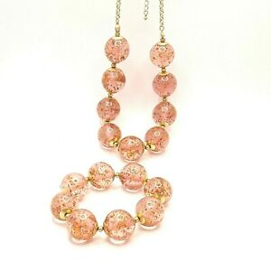 Chunky Pink Necklace and Bracelet Set Statement Jewellery Lagenlook Autograph
