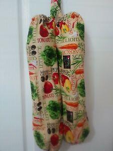 GARDEN VEGETABLES Homemade Fabric Plastic Grocery Bag Holder