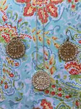Mikey Silver Round Necklace Gold Earrings Set Crystal Bling