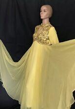 1960s Vintage Evening Gown Bernetti Original Dress Sequins Sheer Chiffon Overlay