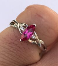 Vintage LGL Leer Gem Limited 10k White Gold Diamond Ruby Women's Ring Sz 7.25