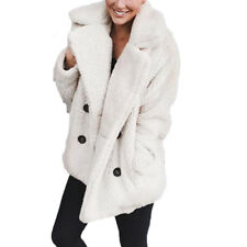 Women Fashion Winter Pocket Fluffy Coat Fleece Fur Jacket Outerwear Hoodies Wrap
