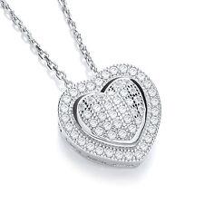 J Jaz AIMEE Argento Sterling a forma di cuore zircone cubico pietre