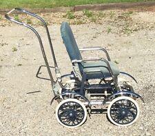 Vintage Metal Stroller w/Folding Handle Reclining Padded Seat & Buggy Wheels