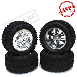 FTX Carnage 2.0 Mounted Chrome Wheels & Tyres Set of 4 12mm Hex Truggy FTX6310C