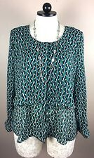 NY Collection Womans Long Sleeve Button up top Green Blue Sheer Layered  XL EUC