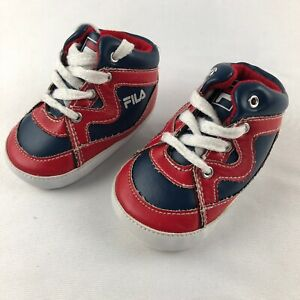 FILA Baby Crib Sneakers Infant Tennis Shoes Soft Size 6-9 Months Red Blue White
