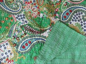 Indian Kantha Quilt Green Paisley Cotton Blanket Queen Coverlet Bedspread