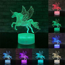 3D LED Unicorn Acrylic Night Light Touch Table Lamp Kids Xams Gift 7Color Change