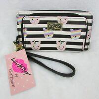 Betsey Johnson Double Zip Wallet Unicorn Kitty Cat Black & White Stripe $58