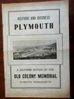 Plymouth Mass. Historic Business 1905 Old Colony Memorial Illustrated Periodical