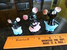 Vintage mini porcelain black mice clothes too big mouse blue pant pink skirt