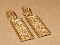"Vintage Crown Trifari Goldtone Beaded Filigree Rectangle Drop Clip Earrings 2"""