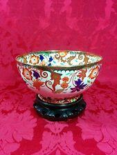 "Antique Amherst Ironstone Old Castle England Imari Floral Handpainted Bowl 9"""