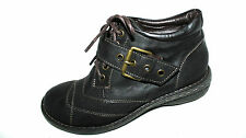 EVITA Halb Schuhe Boots Damen Schnürer 37 UK 4 dunkel braun modisch Schnalle