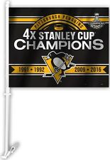 Pittsburgh Penguins 4X Stanley Cup Champions Car Flag 11974