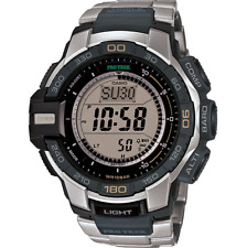 Casio Men 039 s Pro Trek Triple Sensor Stainless Steel Solar Watch PRG270D-7