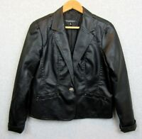 Baccini Womens Size Medium Jacket Coat Faux Leather Black Single Button Blazer