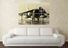 Large Harrier Jump Jet RAF Fighter Plane Army Wall Poster Art Picture Print